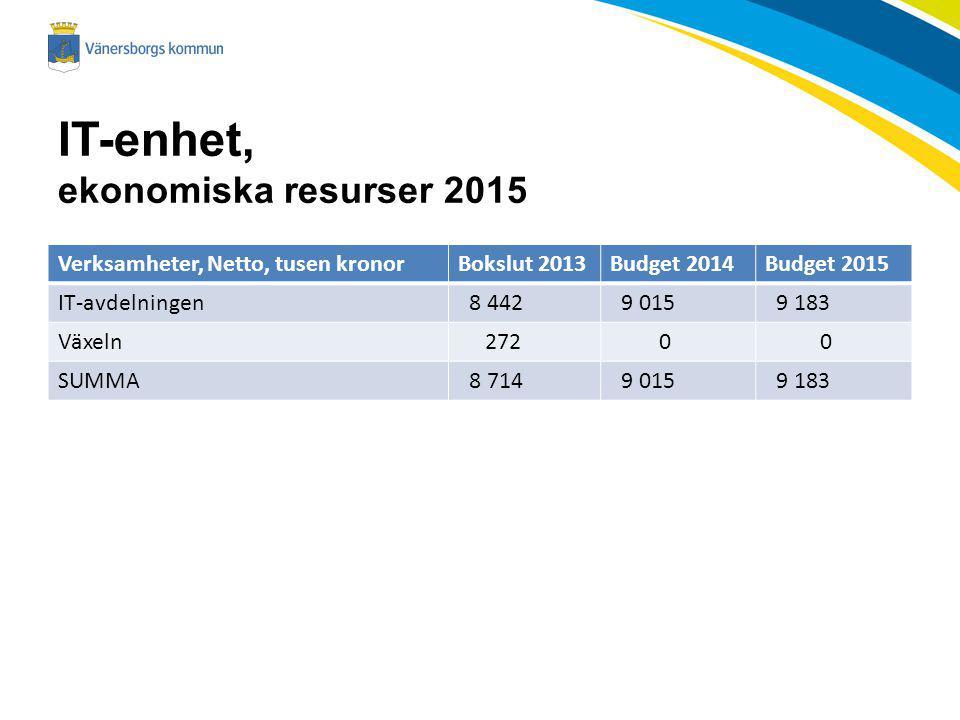 IT-enhet, ekonomiska resurser 2015