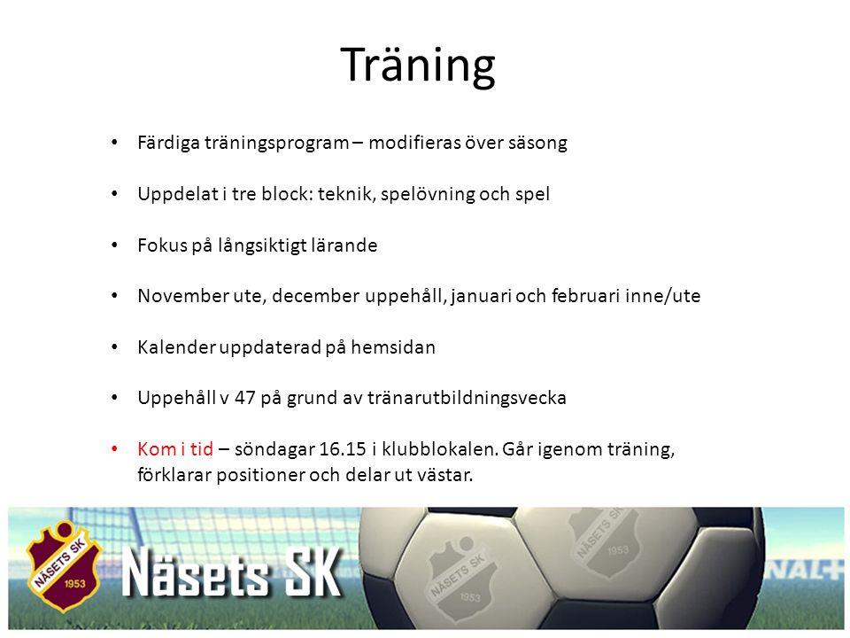 Träning Färdiga träningsprogram – modifieras över säsong