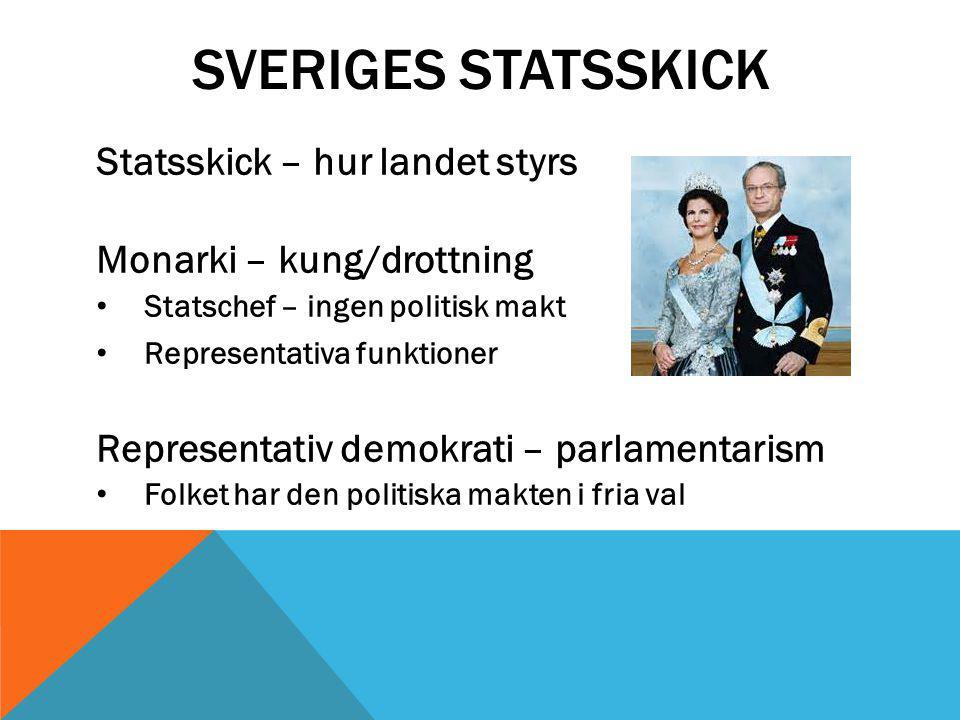 SVERIGES STATSSKICK Statsskick – hur landet styrs