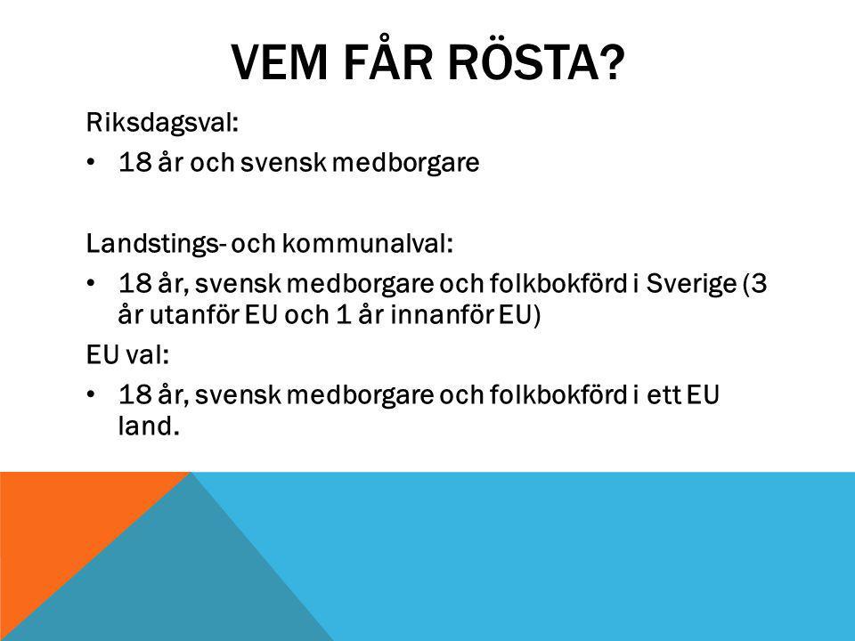 VEM FÅR RÖSTA Riksdagsval: 18 år och svensk medborgare