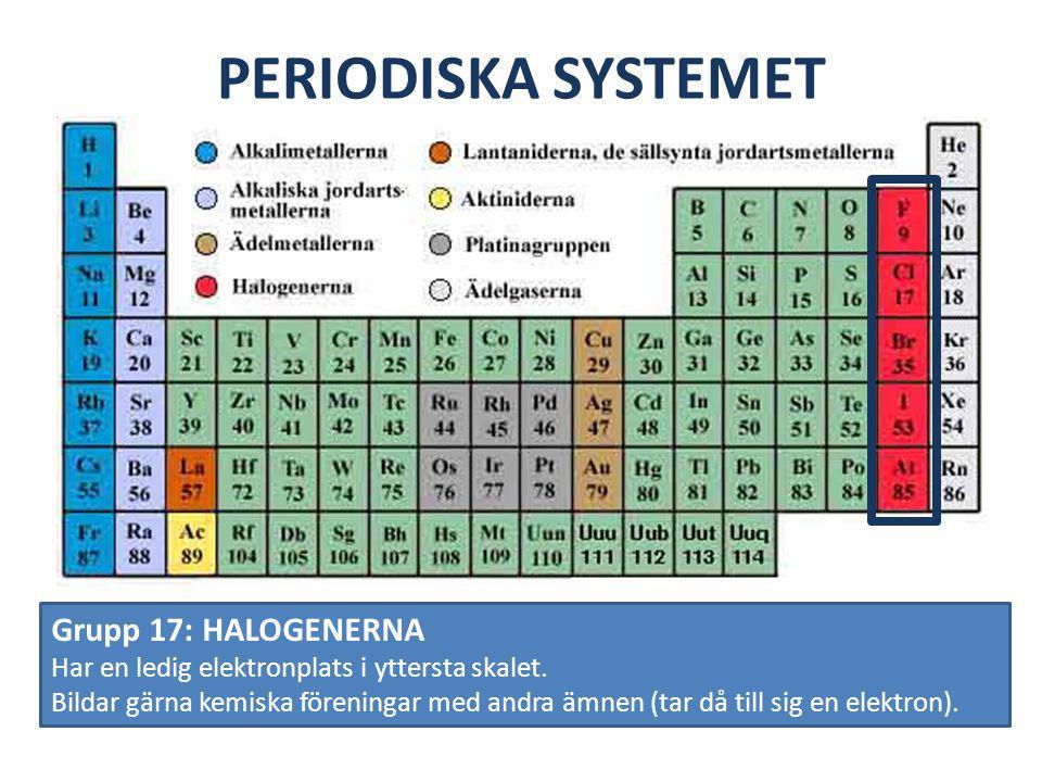 PERIODISKA SYSTEMET Grupp 17: HALOGENERNA