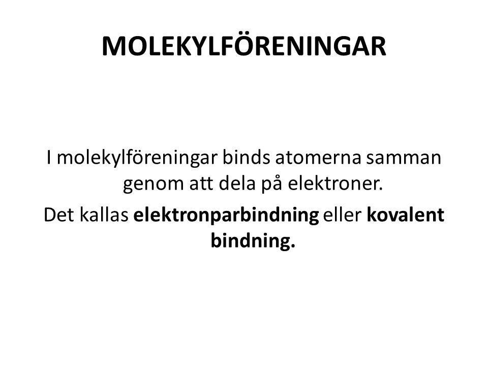 MOLEKYLFÖRENINGAR I molekylföreningar binds atomerna samman genom att dela på elektroner.