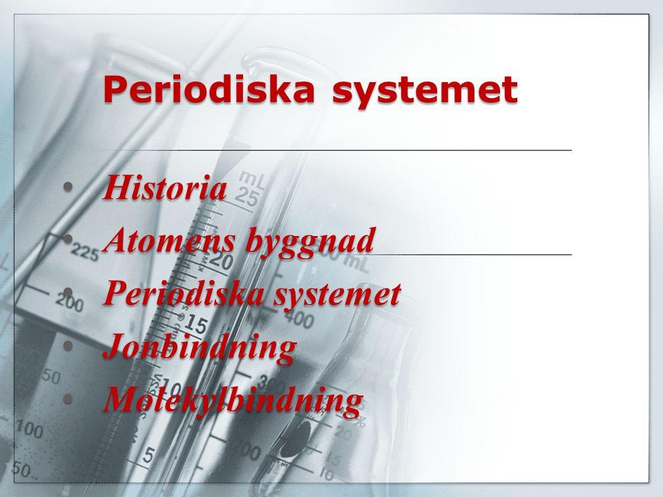 Periodiska systemet Historia Atomens byggnad Periodiska systemet Jonbindning Molekylbindning