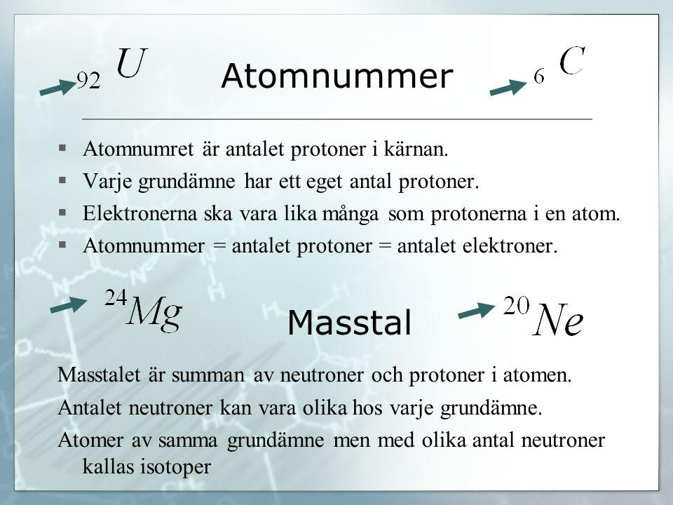 Atomnummer Masstal Atomnumret är antalet protoner i kärnan.