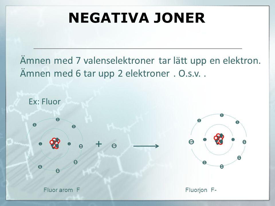 NEGATIVA JONER Ämnen med 7 valenselektroner tar lätt upp en elektron. Ämnen med 6 tar upp 2 elektroner . O.s.v. .