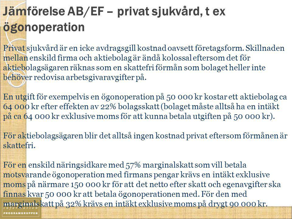 Jämförelse AB/EF – privat sjukvård, t ex ögonoperation