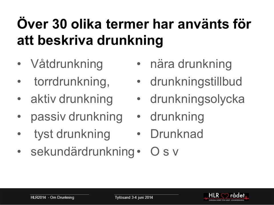 Över 30 olika termer har använts för att beskriva drunkning