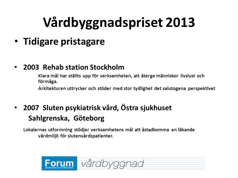 Vårdbyggnadspriset 2013 Tidigare pristagare