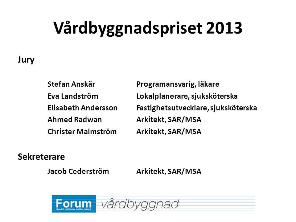 Vårdbyggnadspriset 2013 Jury Sekreterare