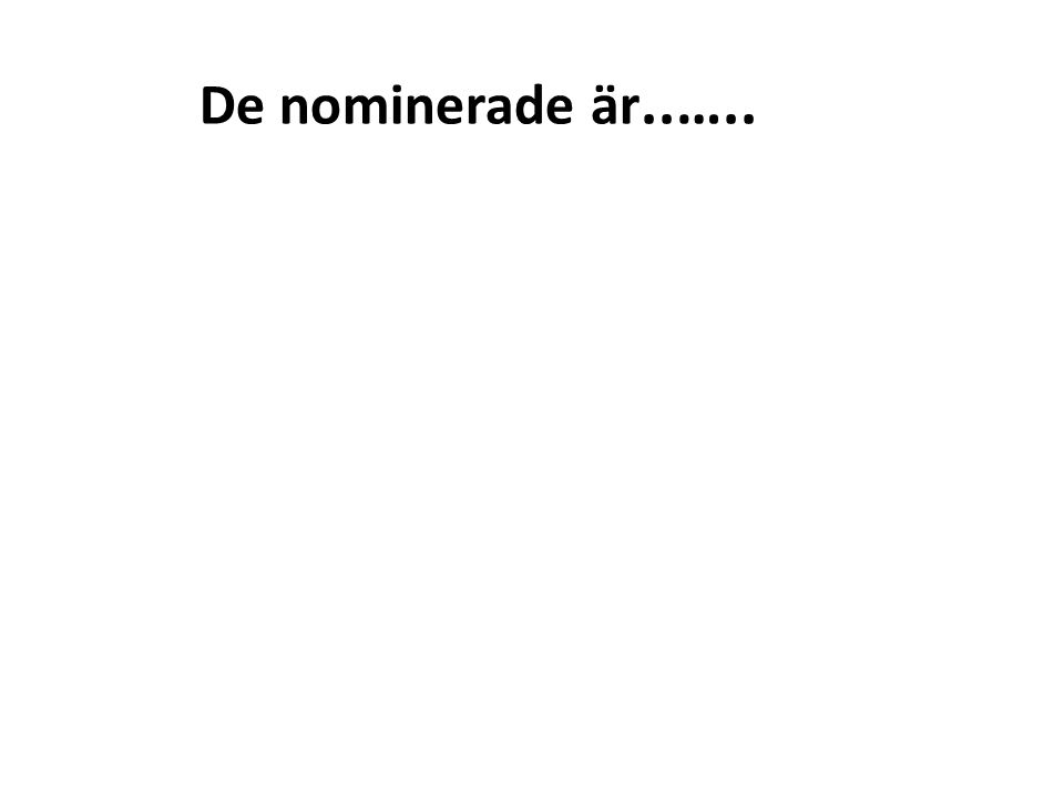 De nominerade är..…..