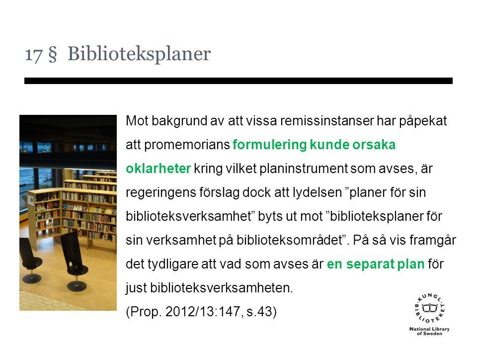 17 § Biblioteksplaner