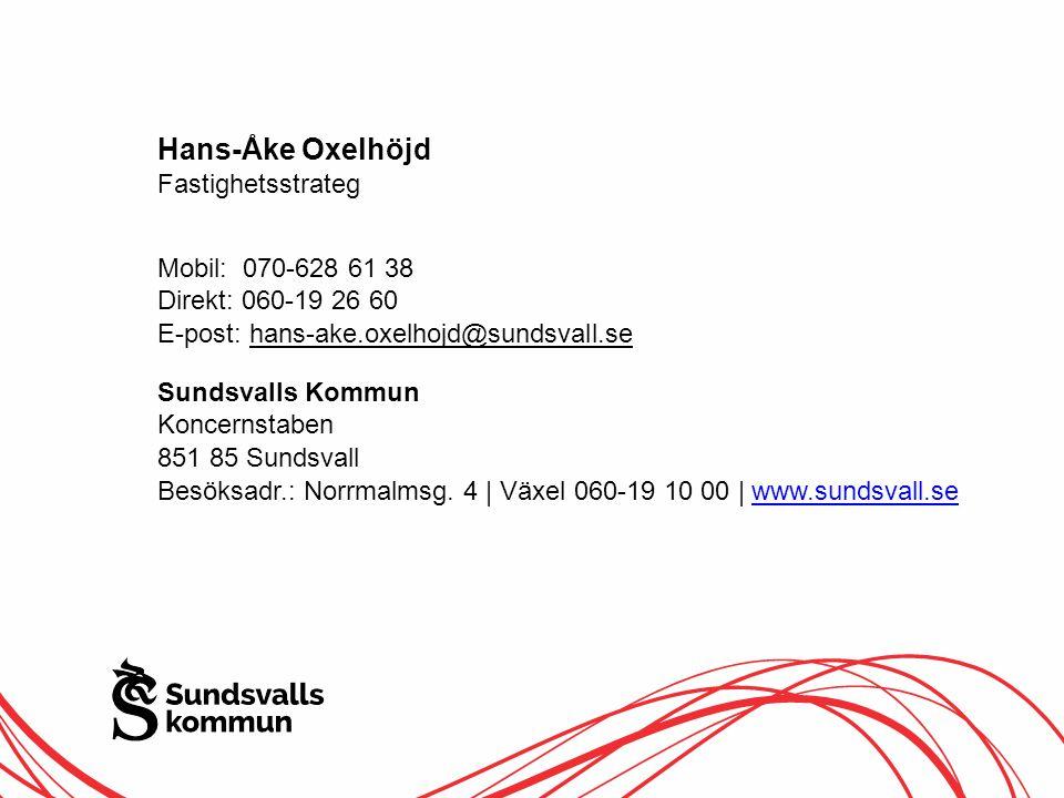Hans-Åke Oxelhöjd Fastighetsstrateg Mobil: 070-628 61 38