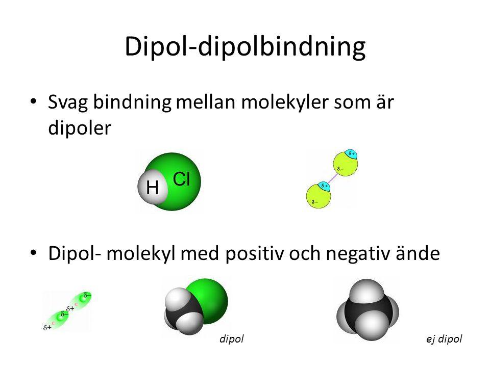 Dipol-dipolbindning Svag bindning mellan molekyler som är dipoler