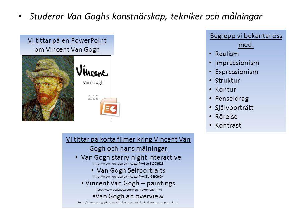 Studerar Van Goghs konstnärskap, tekniker och målningar