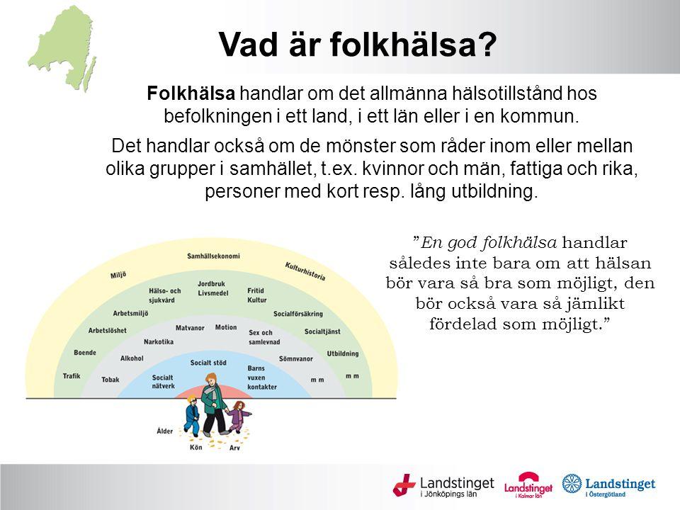 Vad är folkhälsa Folkhälsa handlar om det allmänna hälsotillstånd hos befolkningen i ett land, i ett län eller i en kommun.