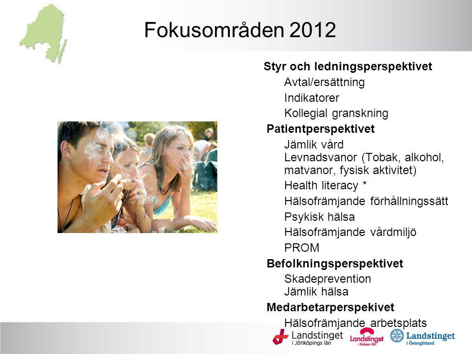 Fokusområden 2012 Avtal/ersättning Indikatorer Kollegial granskning