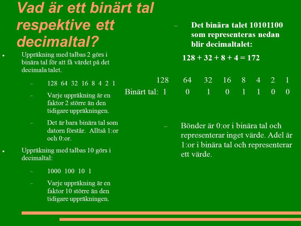 Vad är ett binärt tal respektive ett decimaltal