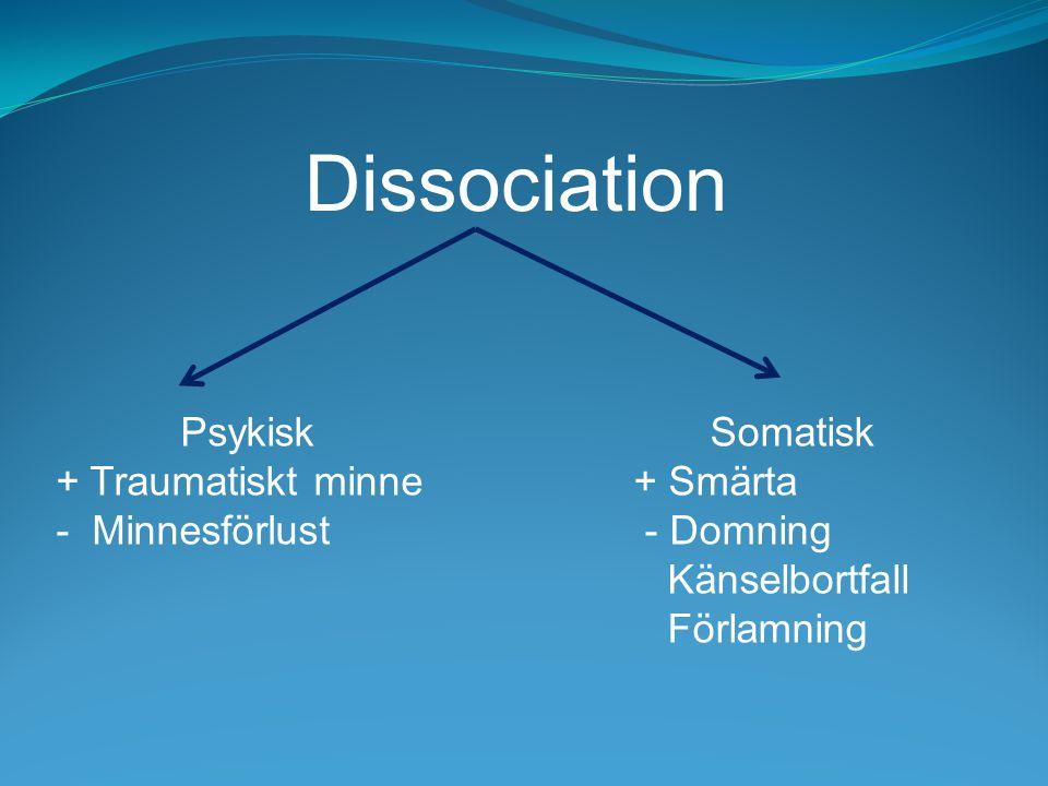 Dissociation Psykisk + Traumatiskt minne - Minnesförlust Somatisk