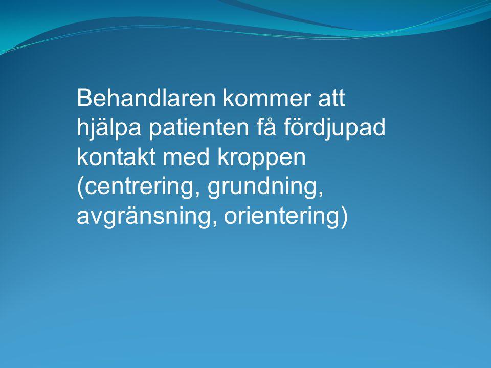 Behandlaren kommer att hjälpa patienten få fördjupad kontakt med kroppen (centrering, grundning, avgränsning, orientering)