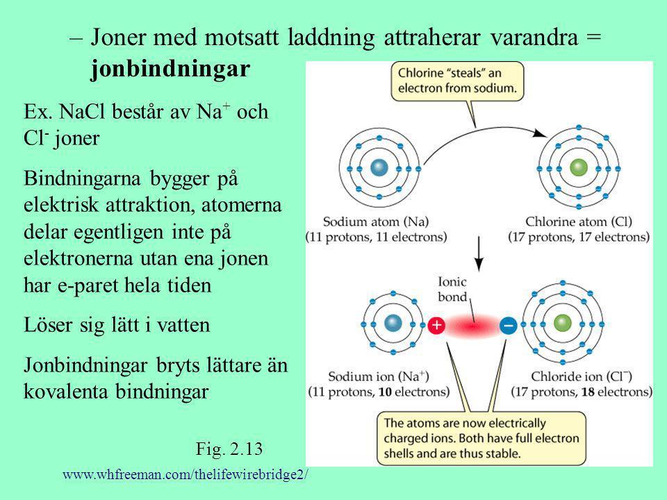 Joner med motsatt laddning attraherar varandra = jonbindningar