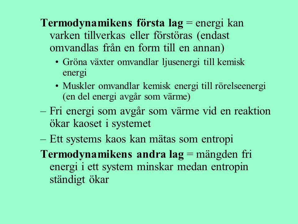 Fri energi som avgår som värme vid en reaktion ökar kaoset i systemet