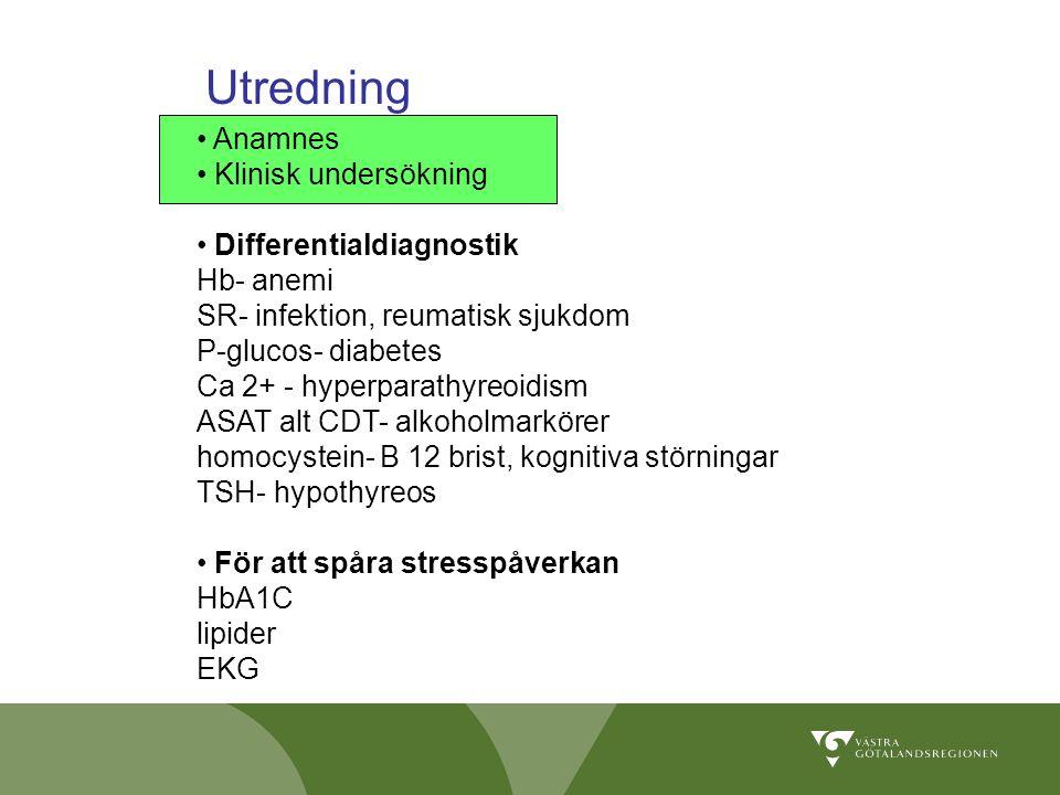 Utredning Anamnes Klinisk undersökning Differentialdiagnostik
