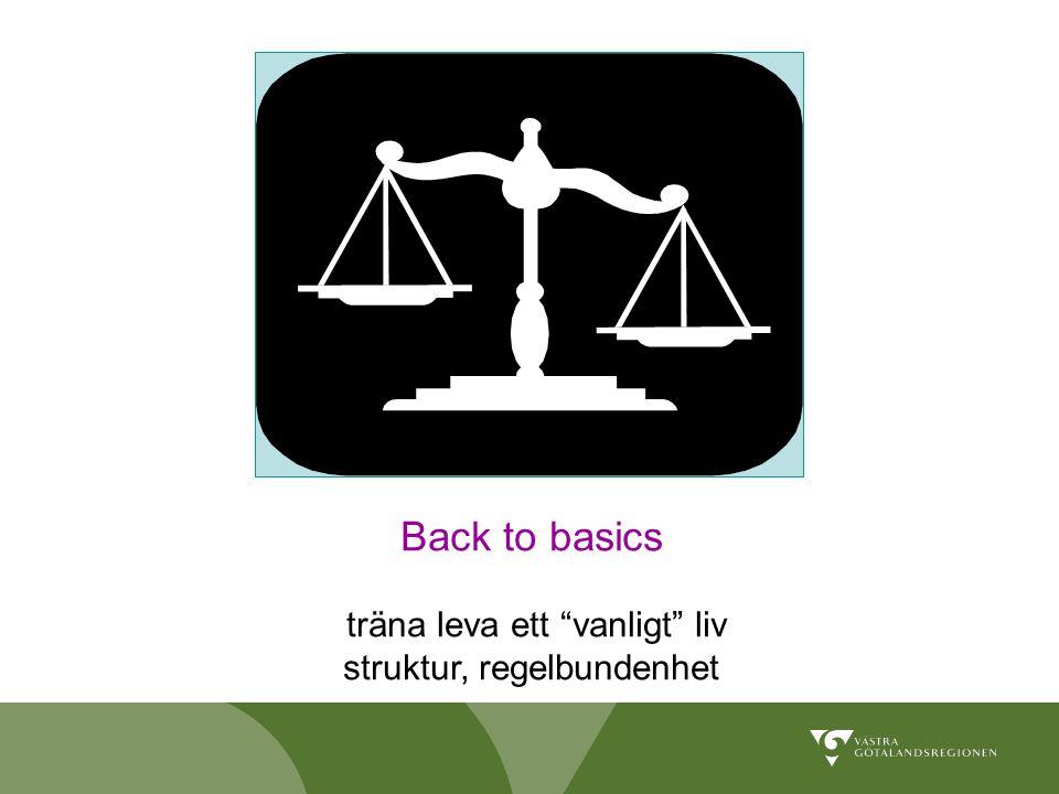 Back to basics träna leva ett vanligt liv struktur, regelbundenhet