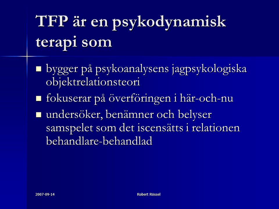 TFP är en psykodynamisk terapi som