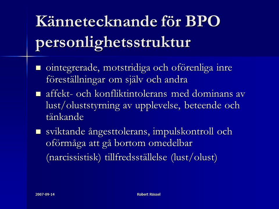 Kännetecknande för BPO personlighetsstruktur