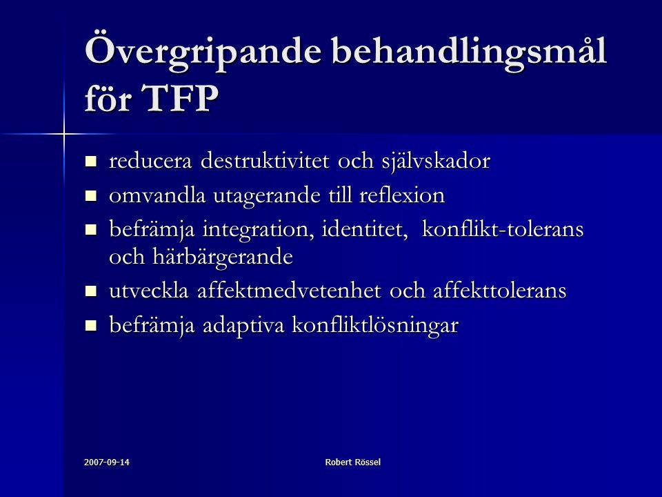 Övergripande behandlingsmål för TFP
