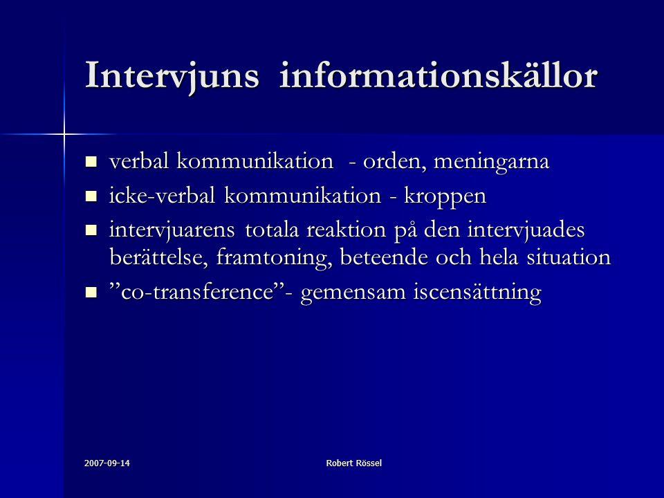 Intervjuns informationskällor
