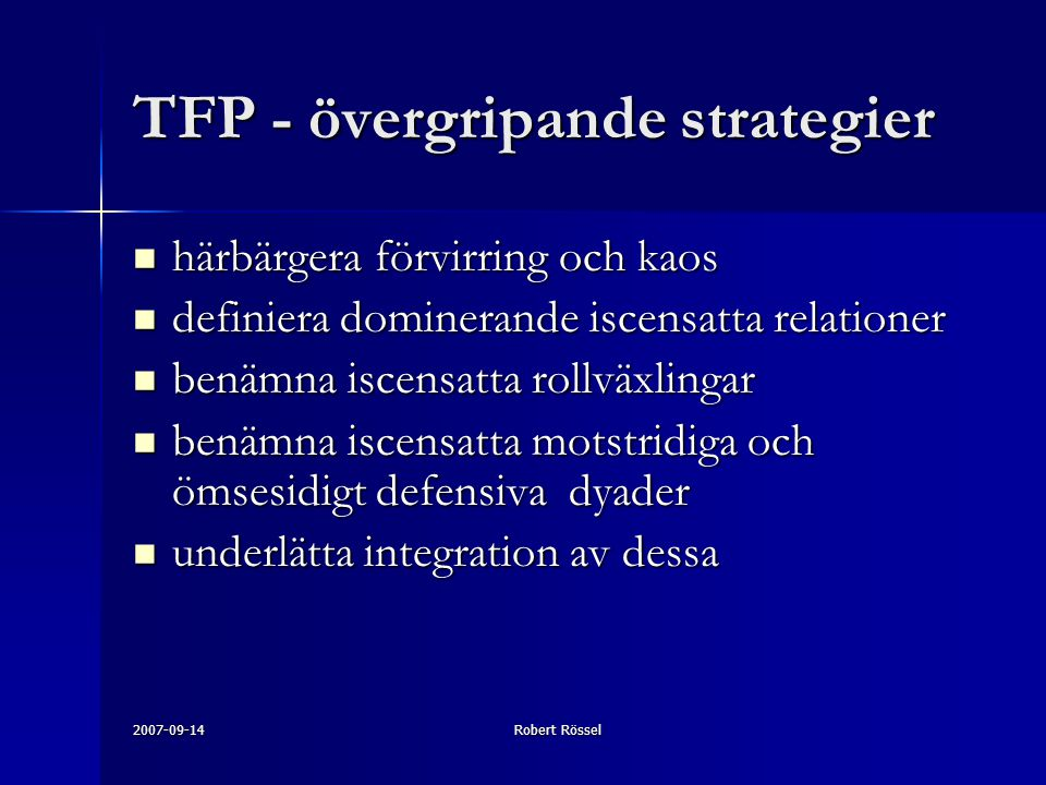 TFP - övergripande strategier