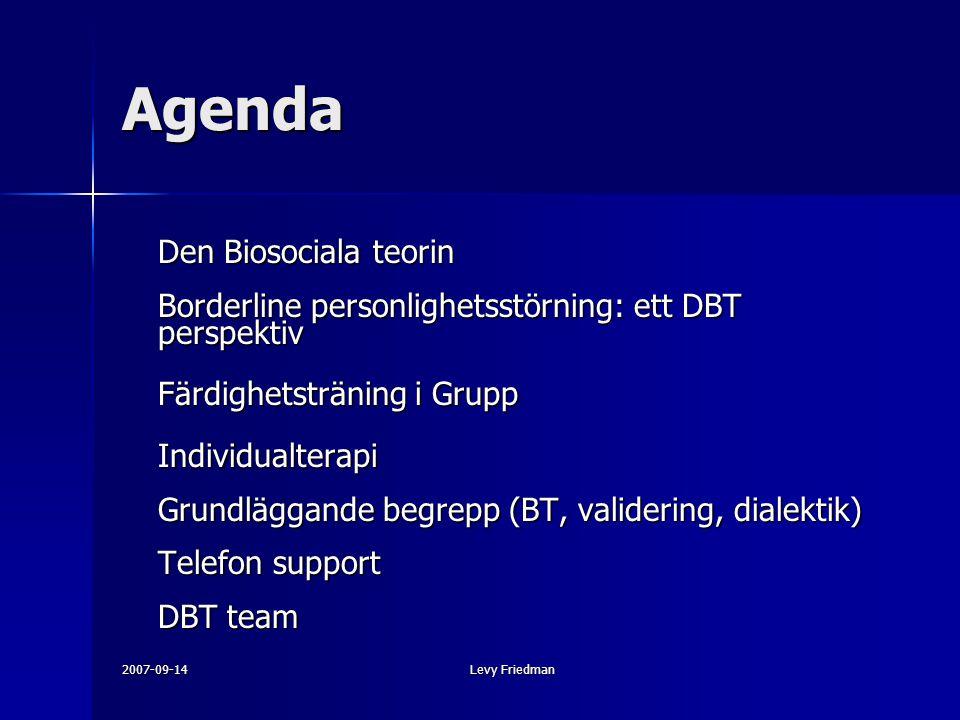 Agenda Färdighetsträning i Grupp