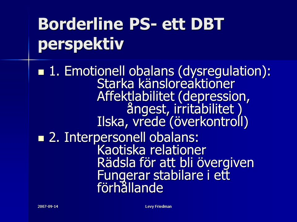 Borderline PS- ett DBT perspektiv