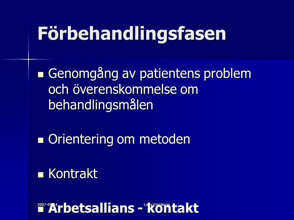 Förbehandlingsfasen Genomgång av patientens problem och överenskommelse om behandlingsmålen. Orientering om metoden.