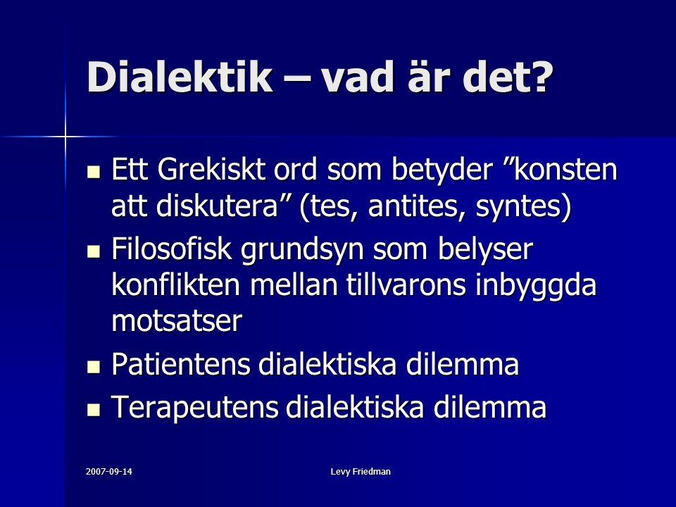 Dialektik – vad är det Ett Grekiskt ord som betyder konsten att diskutera (tes, antites, syntes)
