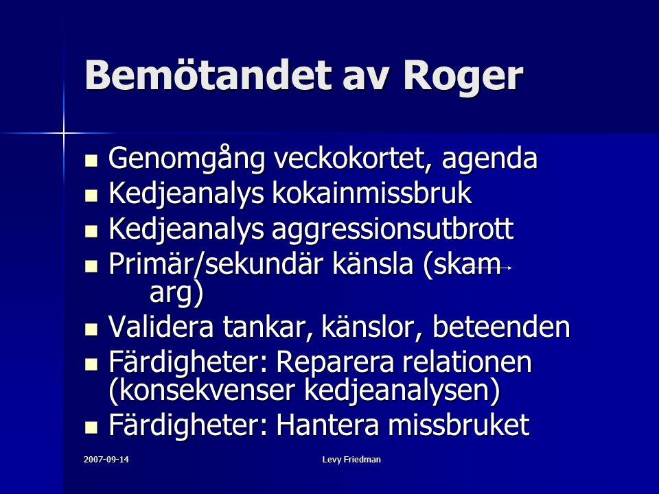 Bemötandet av Roger Genomgång veckokortet, agenda