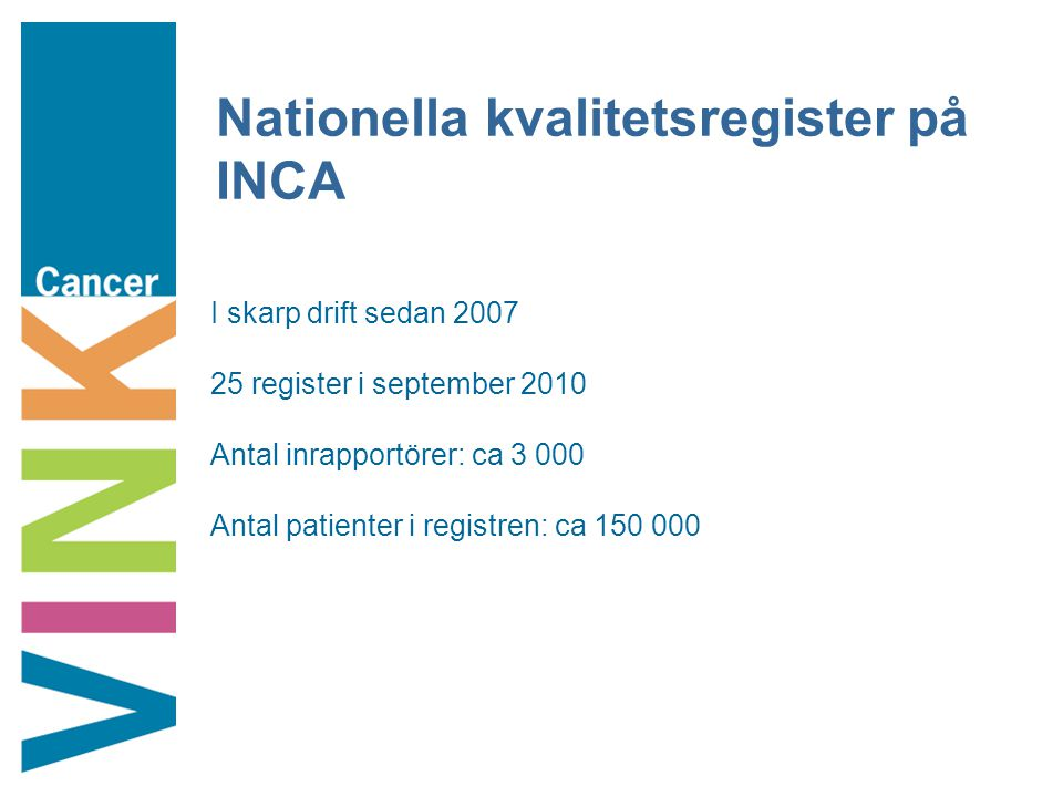 Nationella kvalitetsregister på INCA