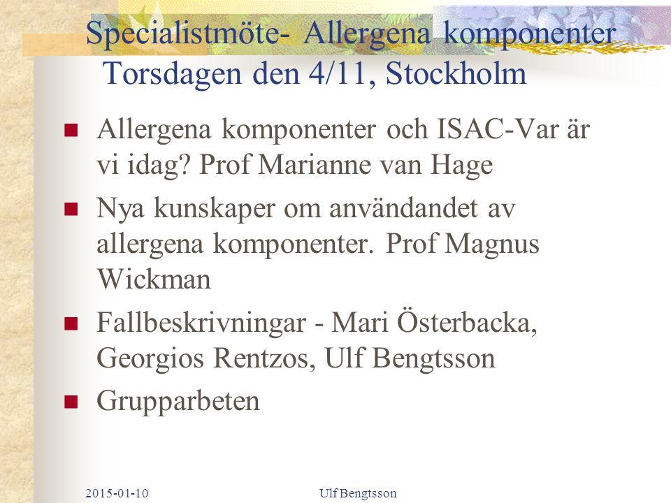 Specialistmöte- Allergena komponenter Torsdagen den 4/11, Stockholm