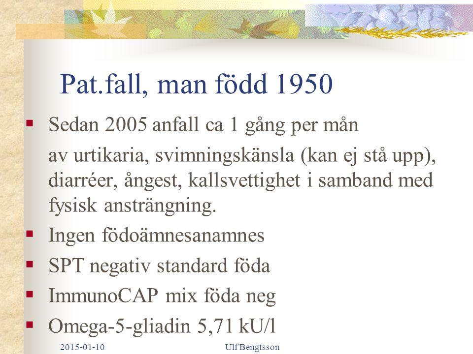 Pat.fall, man född 1950 Sedan 2005 anfall ca 1 gång per mån