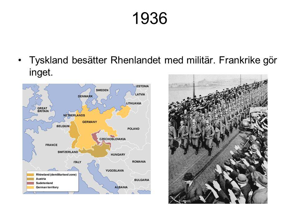 1936 Tyskland besätter Rhenlandet med militär. Frankrike gör inget.