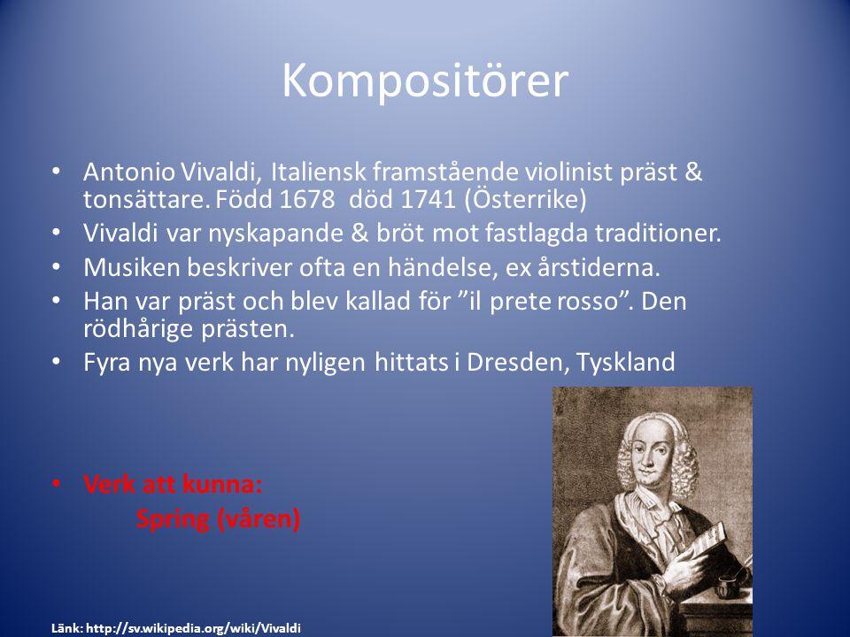 Kompositörer Antonio Vivaldi, Italiensk framstående violinist präst & tonsättare. Född 1678 död 1741 (Österrike)