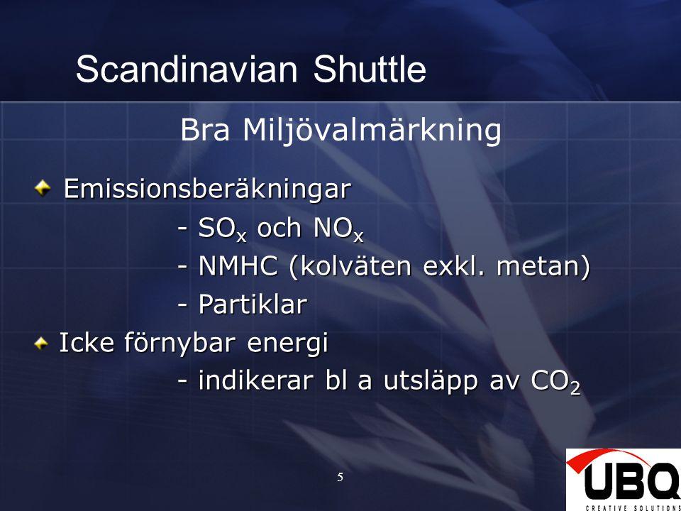 Scandinavian Shuttle Bra Miljövalmärkning Emissionsberäkningar