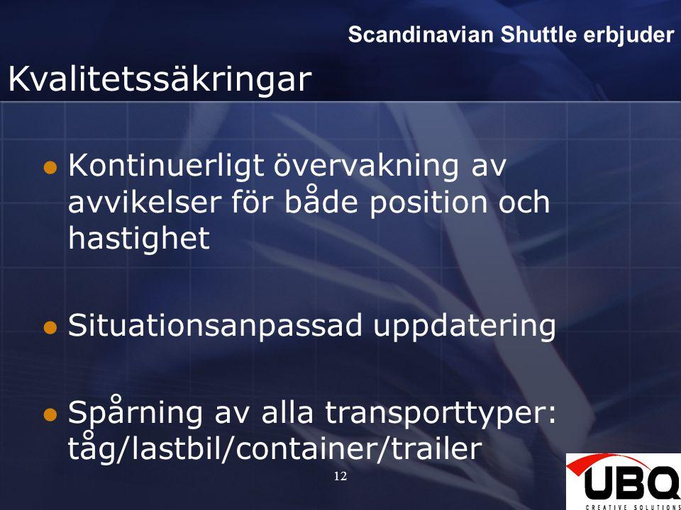 Scandinavian Shuttle erbjuder Kvalitetssäkringar