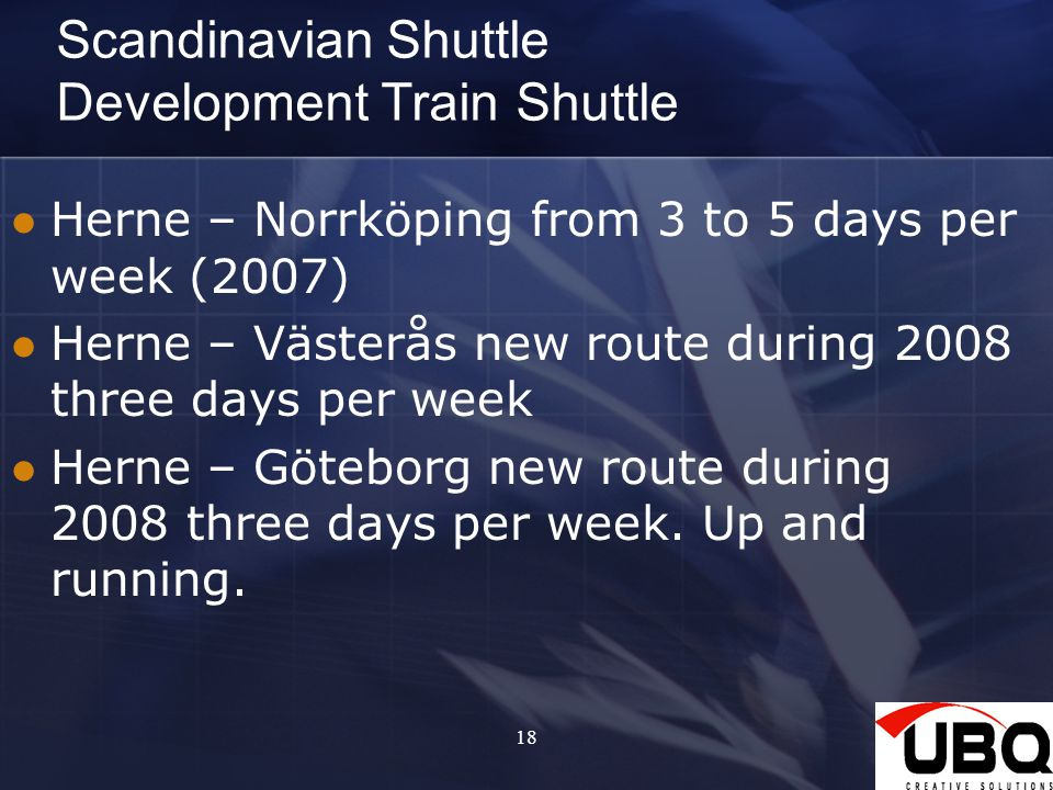 Scandinavian Shuttle Development Train Shuttle