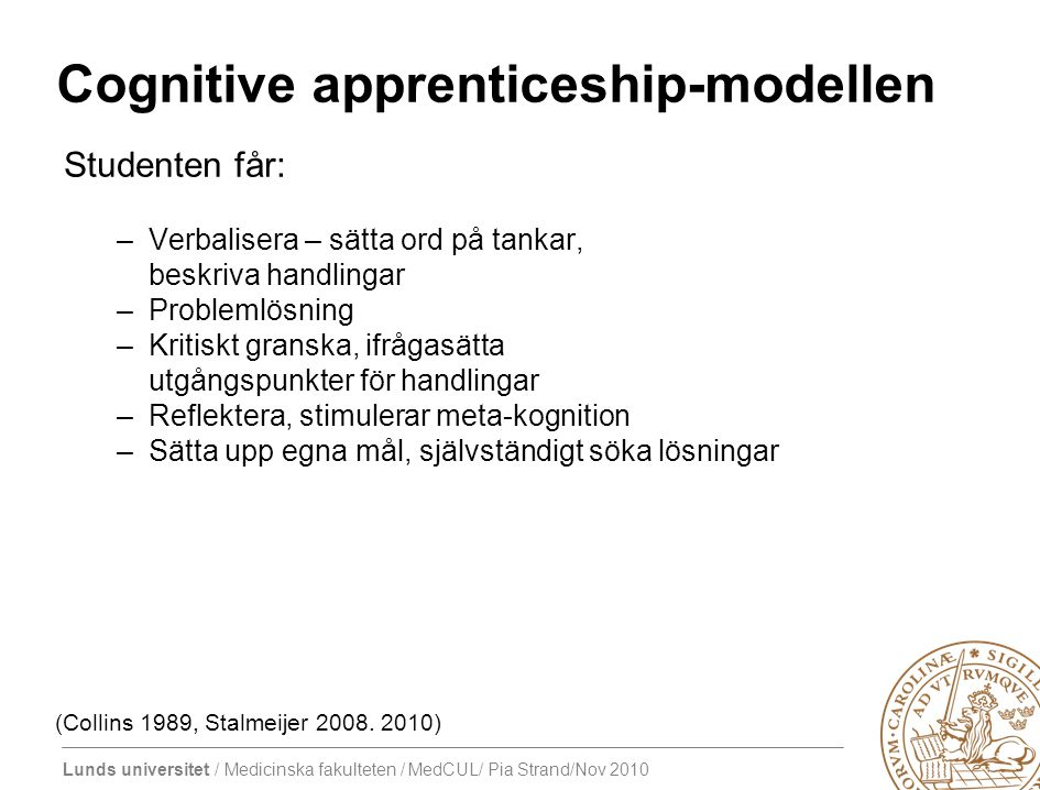 Cognitive apprenticeship-modellen