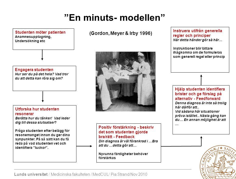 En minuts- modellen (Gordon, Meyer & Irby 1996)