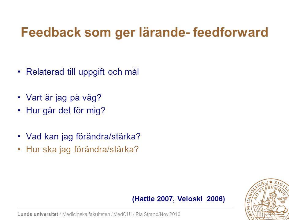 Feedback som ger lärande- feedforward
