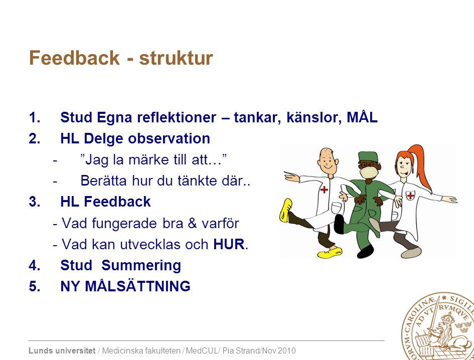 Feedback - struktur Stud Egna reflektioner – tankar, känslor, MÅL