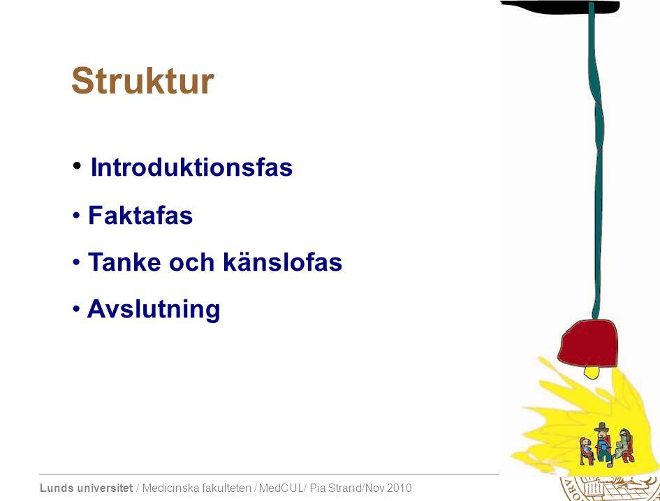 Struktur Introduktionsfas Faktafas Tanke och känslofas Avslutning